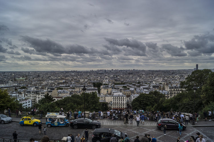Cloud - Sky Outdoors Large Group Of People Architecture City Cityscape Building Exterior History Travel Sacré Coeur, Paris Travel Destinations Paris EyeEmNewHere France People View Mont Martre