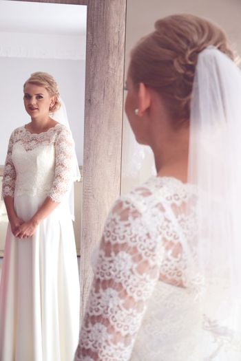 Weddingphotography Wedding Photography Wedding Day Portrait Smiling Photography Romance Romantic Couple HuaweiP9 Bride Wedding Dress Bridal Shop Trying On Standing Young Women Wedding Women Store Beauty