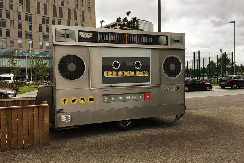 Hip hop chip shop media city Salford Quays Manchester. Outdoors I Phone 6s