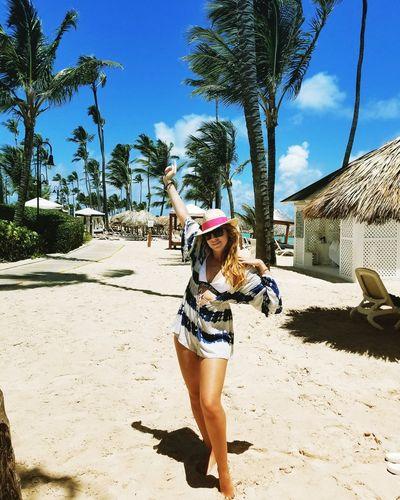 Tree Young Women Full Length Beach Sand Sun Hat Standing Hat Sky