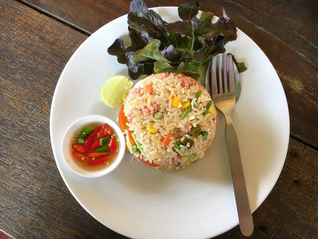 fermented pork fried rice ASIA Chili  Dish Eat Fermented Food Fish Sauce Food Food And Drink Fork Fried Gourmet Healthy Eating High Angle View Lemon Lifestyles Plate Pork Rice Spoon Table Thailand That's Me Vegetable
