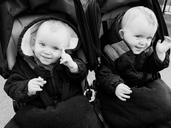 Close-up of happy brothers in baby stroller