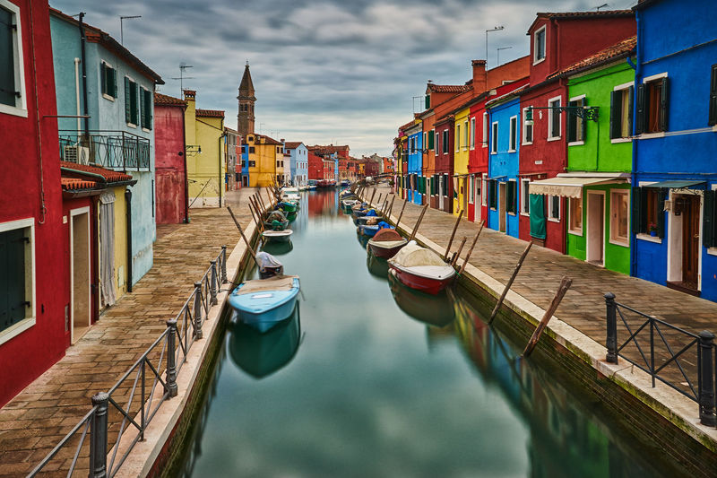Burano Architecture Building Exterior Built Structure Burano Canal Canals Cultures House Multi Colored Nautical Vessel No People Outdoors Sky Transportation Travel Travel Destinations Water Wooden Post