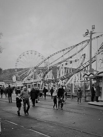 Rouen fête foraine foire noir et blanc manège