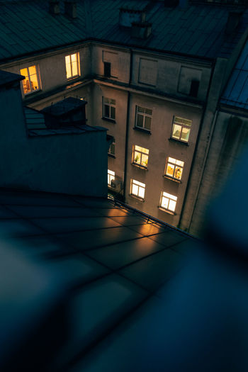 High angle view of illuminated building at night