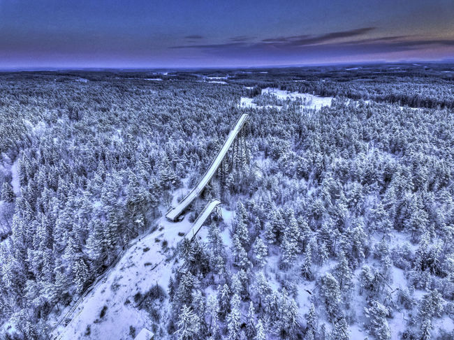 Aerial Photography Aerial Shot Aerial View Cold Finland Forrest HDR Power In Nature Skijump Sky Snow Winter Dji DJI Phantom 3 Advanced