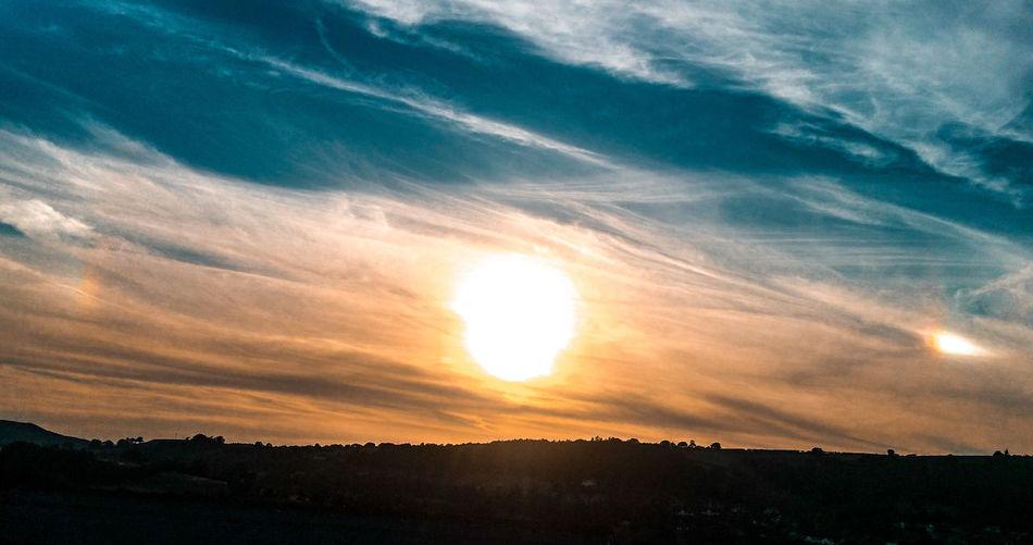 sundogs over Newtown, Powys Sun Dog Sun Dogs In The Sky Reflection Ice Optical Effect Sunset Sunset Sunlight Silhouette Sun Dramatic Sky Sky Landscape Cloud - Sky Sky Only Romantic Sky Cloudscape Cirrus Stratosphere Atmospheric Mood Meteorology Fluffy Wispy