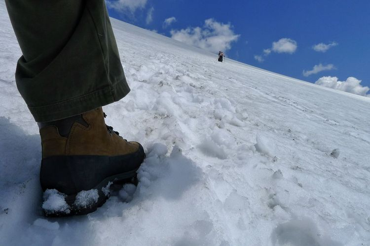Low Angle View Of The Foot Of A Hiker In Winter