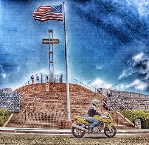 Three in one a cross , American flag, and a motocycle Transportation Sky Outdoors Cloud - Sky Real People Day Special Effects Close-up American Flag Cross Biker Mt Soledad Flag Bike American Flag Jonhson And Johnson Donation Collection Donation = Sharing