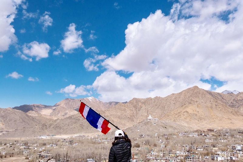 The Great Outdoors - 2017 EyeEm Awards Sky Cloud - Sky Mountain Day Flag Patriotism Outdoors Landscape Mountain Range Nature One Person Beauty In Nature Military People Myself Myleft LehLadakh