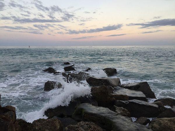 Jetty Water Water Rocks Beauty Sunset