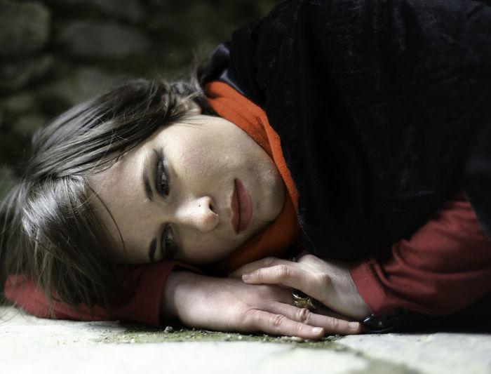 Portrait of a girl lying down