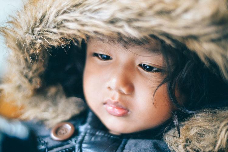 Close-Up Portrait Of Cute Child