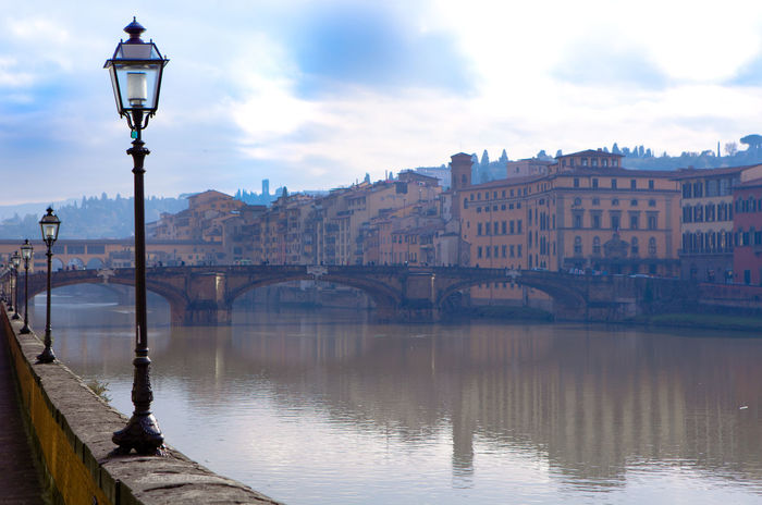 Architecture Arno  Arno River Bridge Bridge - Man Made Structure Building Exterior Built Structure City Cityscape Cloud - Sky Connection Florence Florence Italy Italy Landscape No People Outdoors Ponte Vecchio Ponte Vecchio Firenze Reflection River Scenics Street Light Travel Destinations Water
