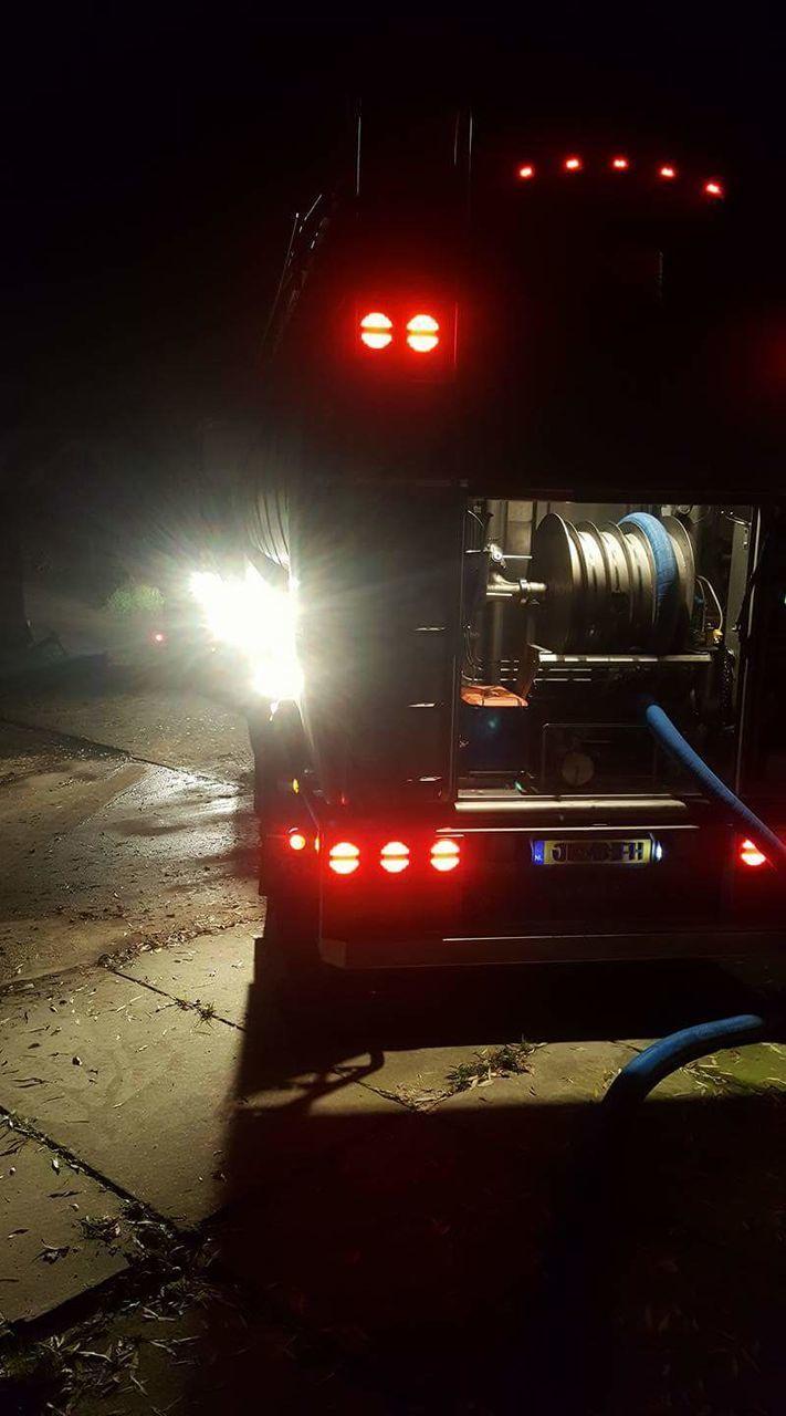 night, illuminated, semi-truck, fire engine, red, transportation, no people, land vehicle, outdoors
