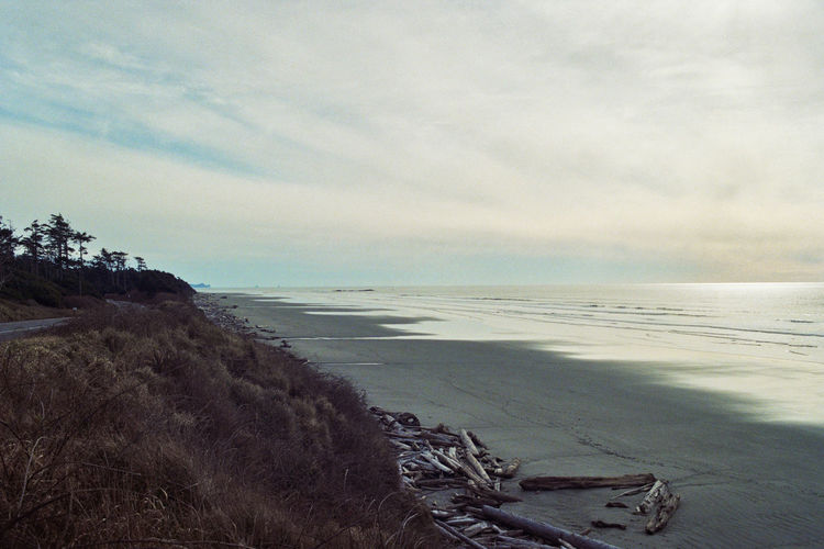 Beach Beauty In Nature Calm Cloud Coastline Day Film Photography Horizon Over Water Idyllic Nature No People Non Urban Scene Outdoors Pacific Northwest  Remote Rock Formation Scenics Sea Shore Sky Tranquil Scene Tranquility USA Washington Water