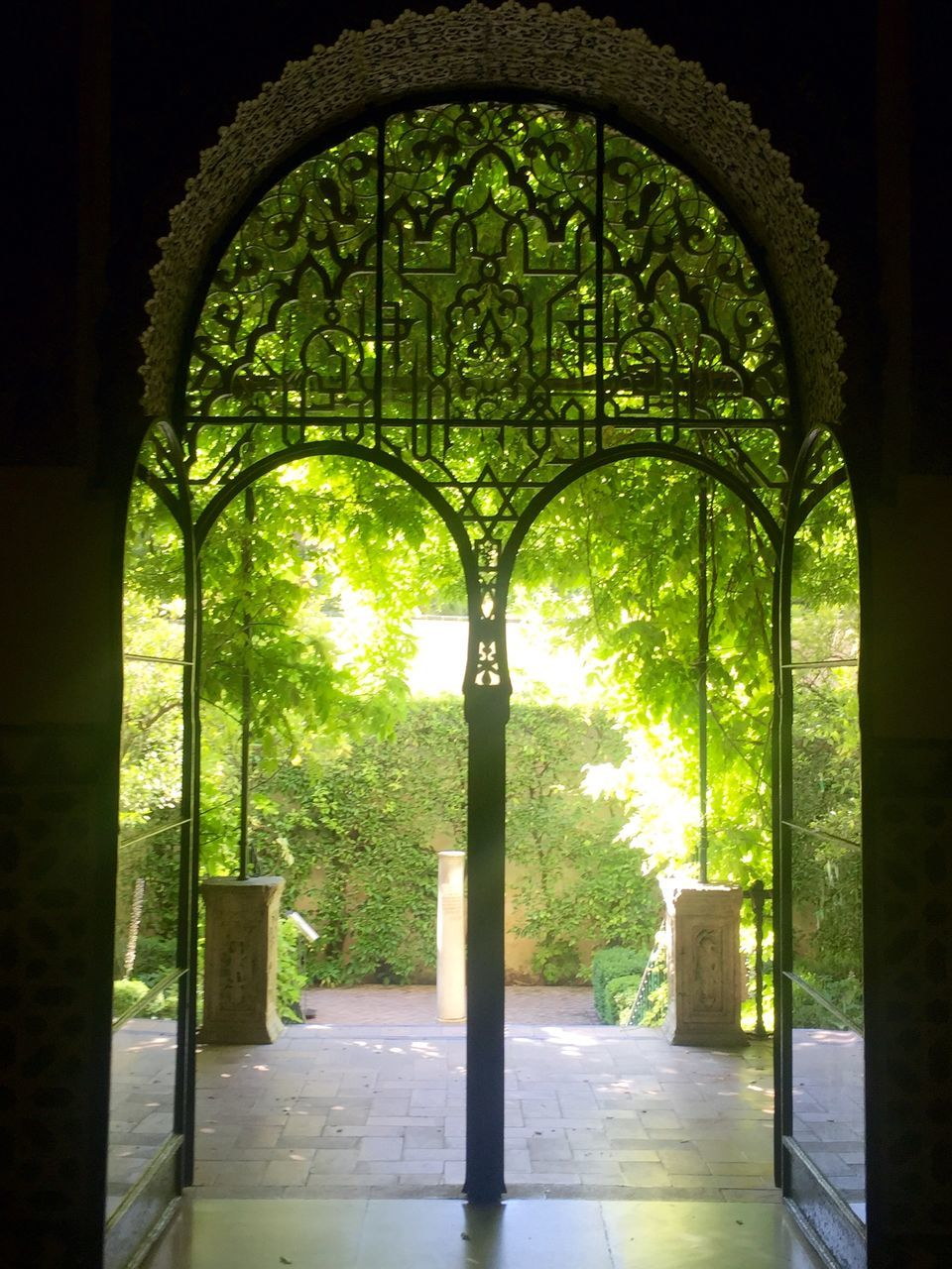 arch, no people, indoors, day, built structure, sunlight, green color, history, architecture, tree, architectural column, nature, growth, beauty in nature
