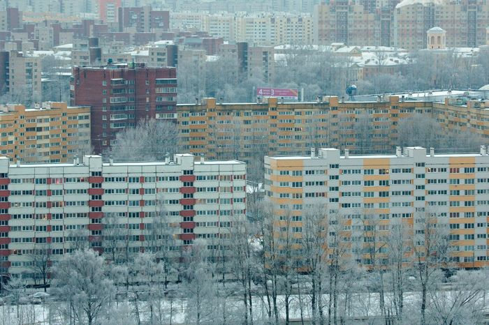 Kirovsky District, view from above. Architecture Building Building Exterior City Dormitory Human Settlement Modern Outdoors Perspective Saint Petersburg Sleeping Quarters Snow Top Perspective Urban Urban Geometry Ussr Winter Wintertime