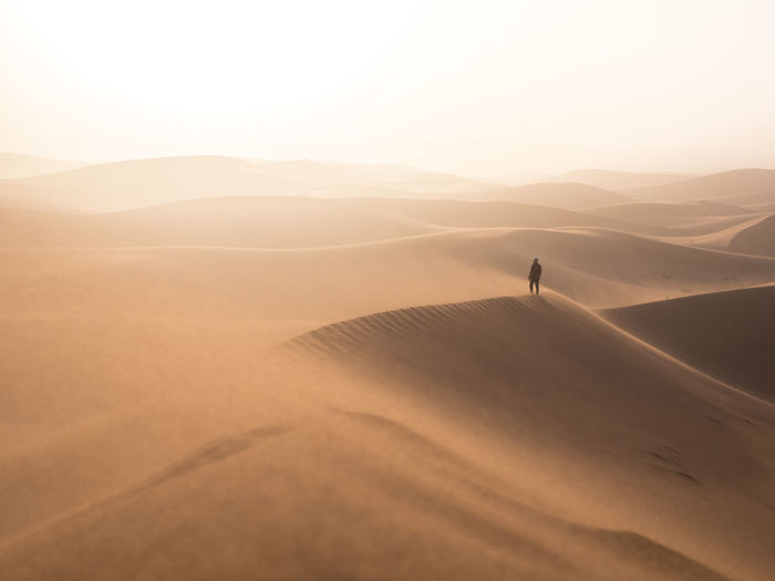 Alone in the desert. [Sahara Desert, Morocco] EyeEmNewHere Morocco Sahara Desert Beauty In Nature Desert Landscape Nature Non-urban Scene Outdoors Remote Sand Sand Dune Scenics - Nature Tranquil Scene Tranquility The Great Outdoors - 2018 EyeEm Awards The Traveler - 2018 EyeEm Awards A New Beginning 50 Ways Of Seeing: Gratitude Capture Tomorrow 2018 In One Photograph #NotYourCliche Love Letter