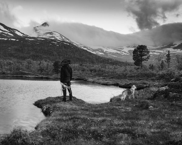 Taken on an adventure on the island of Senja in northern is my friend David and his dog during blue hour. A New Beginning Adventure Exploring Hiking Trekking Mountains Norway Senja  Blackandwhite Quiet Life Lake