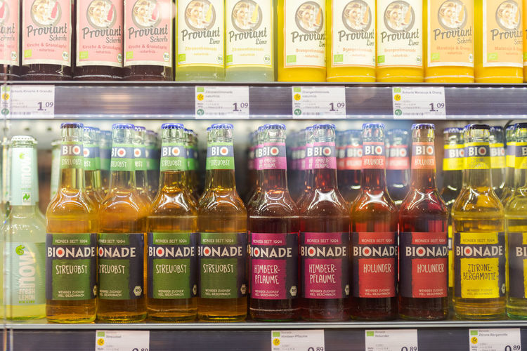 Various bottles on display at store