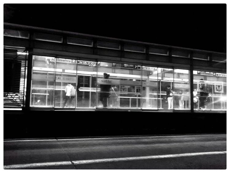 My City Nightphotography Light And Shadow Walking Around Taking Photos Bus Station Waiting For The Bus Shades Of Grey