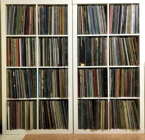 Vinyl records on a rack. Vinyl Records Vinyl Records Long Playing Albums Music Songs LP Collection 33 Rpm Record 45 Rpm Records Album Covers