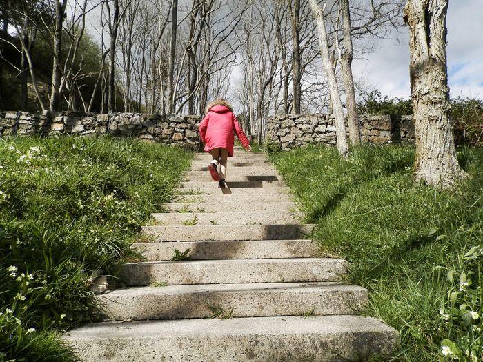 Full length of girl climbing up steps