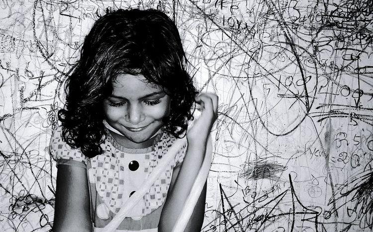 Colour of Shy Childhood shy girl Black Hair