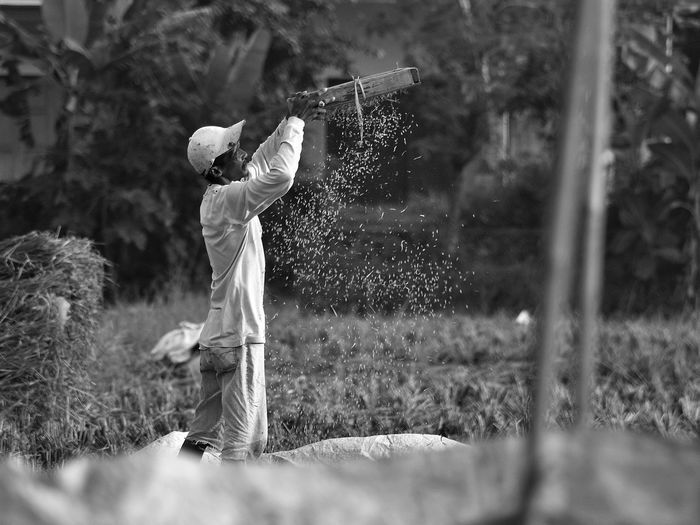 Rice farmers The Great Outdoors - 2017 EyeEm Awards Outdoors One Person Standing Freshness Nature People EyeEmNewHere Monochrome Farm Worker