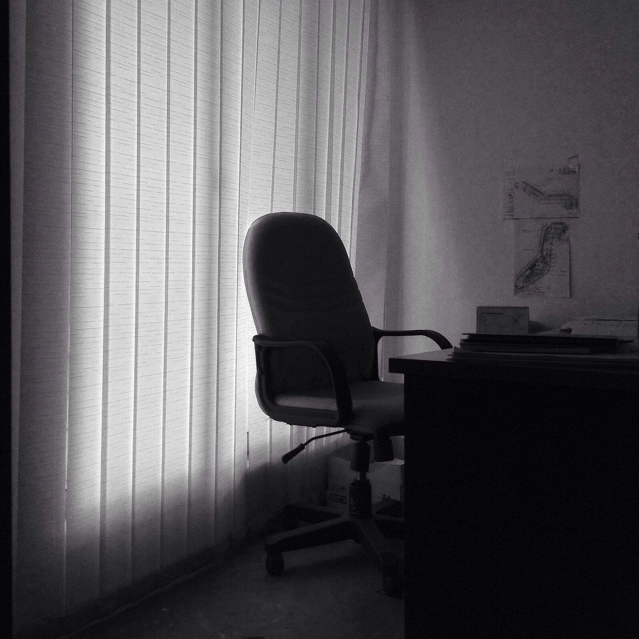 chair, indoors, curtain, home interior, window, furniture, no people, drapes, office chair, day