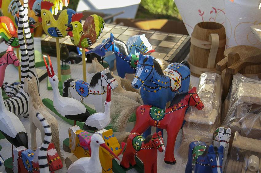 Figure KAZIMIERZ DOLNY Kazimierz Dolny Nad Wisłą Market Animal Representation Choice Day Fair Festival Folk Folklore Handicraft Handmade No People Skulpture Toy Variation Wood Horses Wood Toys