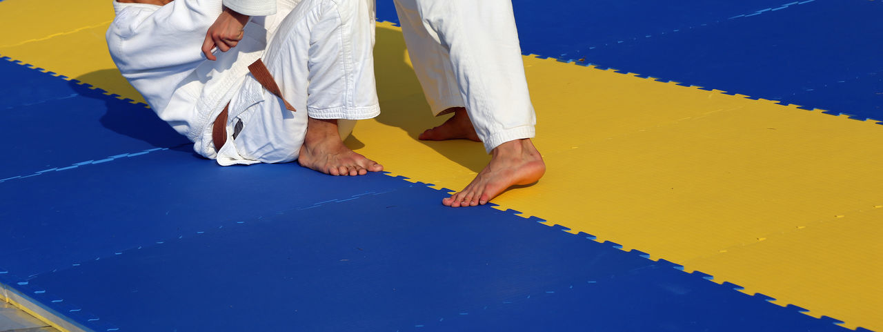 Low section of people playing karate on mat