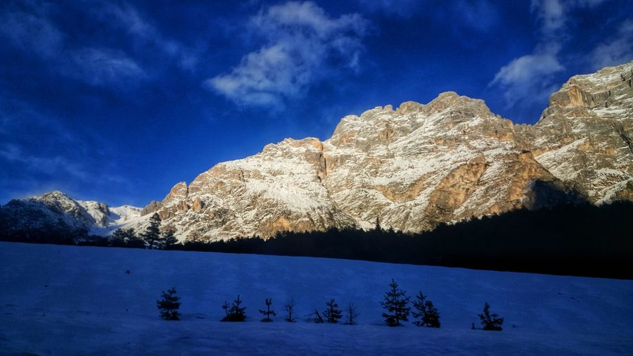 Shades Of Winter Snow Winter Cold Temperature Tree Mountain Landscape Sky Cloud - Sky Outdoors Pine Tree Beauty In Nature Blue Scenics No People Nature Snowcapped Mountain Pinaceae Mountain Range