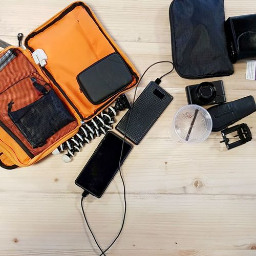 an amateur vlogger's equipment Harddisc Case Vlog Vlogger EDC Equipment Tools Electronics  Wireless Technology Close-up Wallet Digital Camera Photographic Equipment Tripod Camera Cellphone Photographer Personal Accessory Going Remote Visual Creativity The Still Life Photographer - 2018 EyeEm Awards