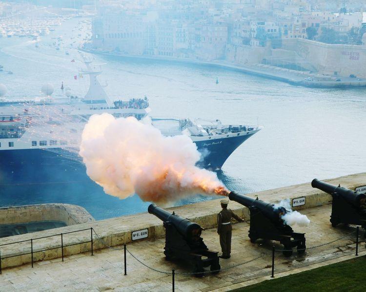 Battery salute in Valletta... Valletta Harbour, Malta Valletta European Capital Of Culture 2018 Valletta,Malta Outdoors Travel Destinations Cannon Cannon Firing Focus On The Story