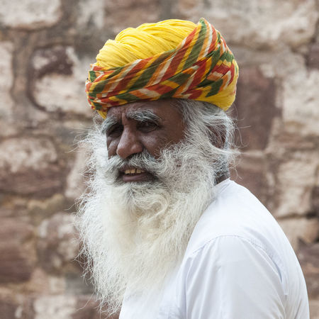 India Old Man One Man Only One Person Portrait Stone Wall Background Turban White Beard Yellow