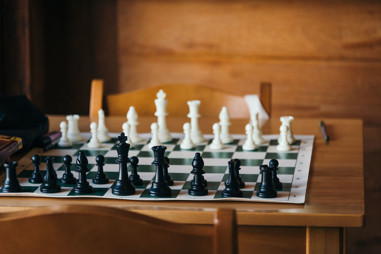 Row of chess on table at home