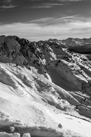 Val D'Aran Vitality Snowcapped Mountain Snowboarding Freestyle Freeride Valley White Wintertime Baqueira Travel Destinations Mountain Range Tranquility Beauty In Nature Winter Landscape Mountain Snow Nature Day Scenics Nature Cloud - Sky Black And White Friday