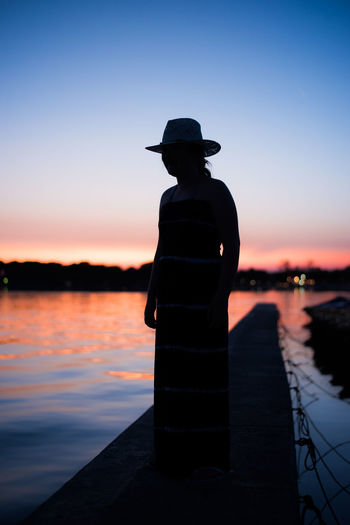 Croatia Hat Relaxing Travel Beach Beauty In Nature Boardwalk Clear Sky Mellow Nature One Person Outdoors People Scenics Sea Silhouette Sky Sunset Water