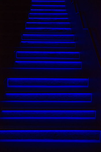 Backgrounds Blue Close-up Illuminated Indoors  Night No People Pattern Steps