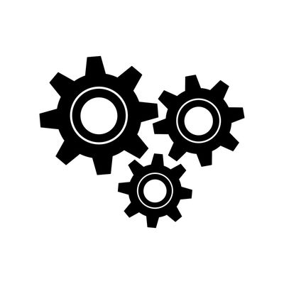 Three gear sign flat icon for graphic design, logo, web site, social media, mobile app, ui illustration Icon Industry Business Construction Graphic Industrial Machine Power Teamwork Transmission Wheel Work Cog Cogwheel Communications Tower Connection Engine Engineering Equipment Factory Gear Progress Spin Team Technology