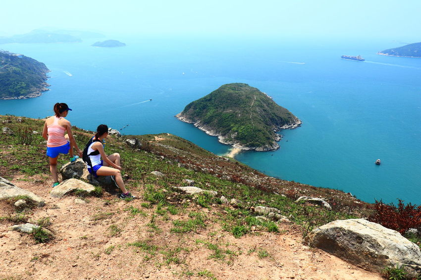 Two Ladies Ready To Go over the Hills and Sea. Beach Aerial View Two People Discoverhongkong HongKong High Angle View Nature Mountain Trail Trail Running Trail Runner Trail Run 16-35mm F4L Island Break The Mold Tadaa Community The Great Outdoors - 2017 EyeEm Awards Canon Canonphotography Live For The Story The Street Photographer - 2017 EyeEm Awards Breathing Space Go Higher