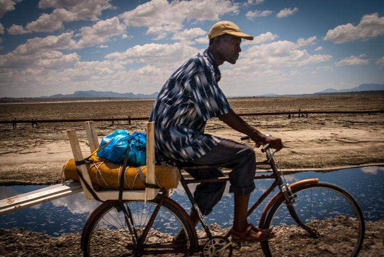 Transportation Sky Cloud - Sky Side View Bicycle Nature Mode Of Transportation Lake Magadi Kenya Kenya365 The Week on EyeEm Into The Wild Soda Lake African Sky Riding Bike