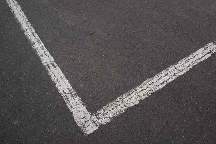 High angle view of marking on road