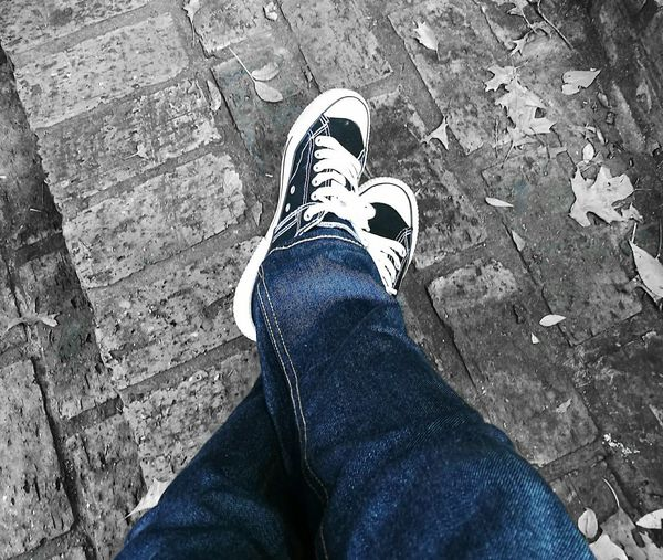 Shoe Human Leg Personal Perspective Human Body Part Sneakersaddict BLUE JEANS♥ One Person Fashion High Angle View Adult