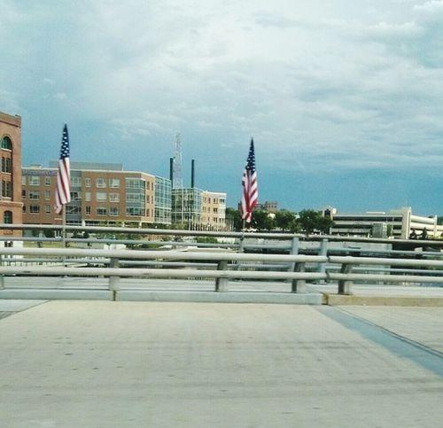 American Flag Bridge Water Remembrance USA
