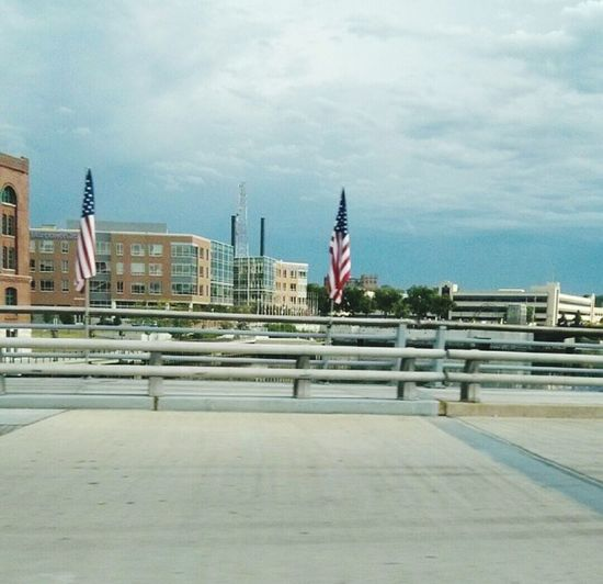 American Flag Bridge Water Remembrance USA