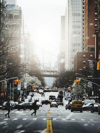 Traffic on city street during winter