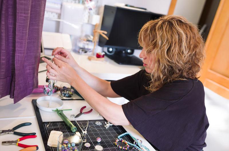 Design professional working at workshop